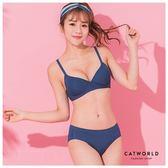 Catworld 簡約藍調。無痕細肩BRA內衣(深藍)【18803537】‧S-XL