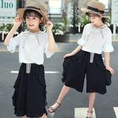 女童套裝夏裝新款時髦套裝洋氣女孩衣服中大童兩件套雪紡夏潮  9號潮人館