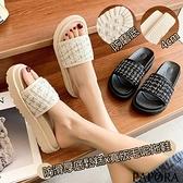 PAPORA格紋厚底休閒拖鞋涼鞋KS5413黑色/白色