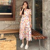 洋裝 彩色印花V領繫帶開叉連身裙復古氣質長裙
