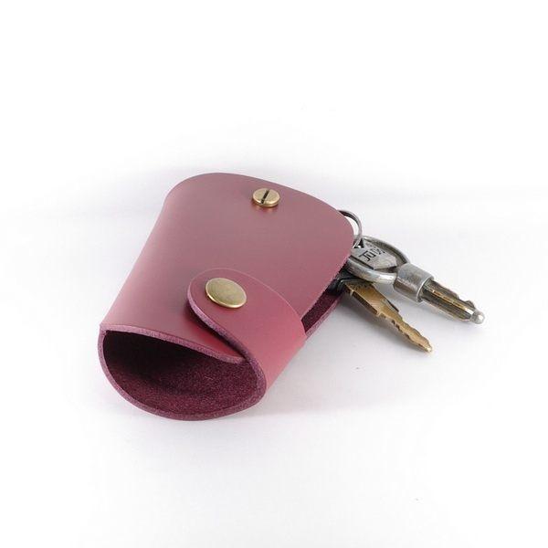 鑰匙圈 真皮 皮革 汽車鑰匙包 寛版 酒紅-Mark Honor