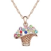 925純銀項鍊 鑲鑽墜子-絢麗花籃生日情人節禮物女飾品4色73aj423【巴黎精品】
