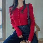 2020新款春款修身顯瘦心機本命年紅色小衫短款上衣開衫長袖T恤女
