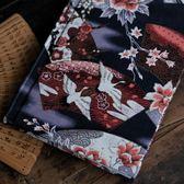 【尋仙】鶴 扇面 布面 A5 硬面本 手賬本 禮物 黑色 古風 日記本