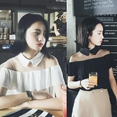 2020夏季新款韓版性感一字領露肩短袖雪紡衫女裝網紗拼接漏肩上衣