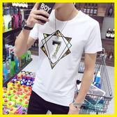夏裝男士圓領半袖衣服韓版短袖t恤男日系白色潮流男裝打底衫體恤