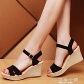 夏季新款高跟厚底楔形一字扣韓版女涼鞋防水台羅馬鞋性感女鞋子潮 海角七號