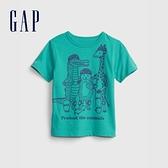 Gap男幼童 童趣印花短袖T恤 681409-松石綠