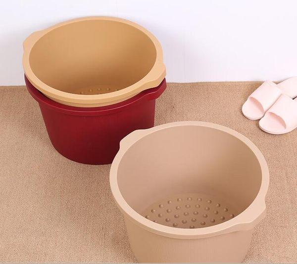 加厚洗腳盆塑料足浴桶家用泡腳桶加高足浴盆洗腳桶泡腳盆沐足桶木