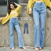 LULUS-P刷色微喇叭牛仔長褲S-L-藍  現+預【04011269】