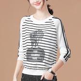 【名模衣櫃】 條紋插畫女孩針織衫-白色-(M-XL可選) 93106