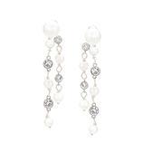 耳環 Earring Pearl Diamond  銅鍍白金 貝殼珠 施華洛世奇水鑽