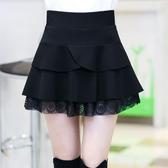 A字裙半身裙短裙女春裝新款韓版修身蕾絲拼接百褶裙女黑色蓬蓬裙