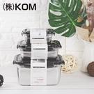 【KOM】日式不鏽鋼保鮮盒6件組-冰酷黑...