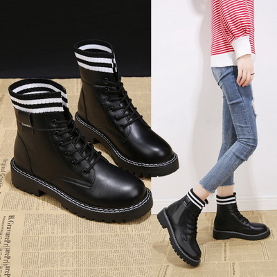 任選2雙788馬丁靴條紋針織拼接圓頭繫帶馬丁靴短靴【02S11623】