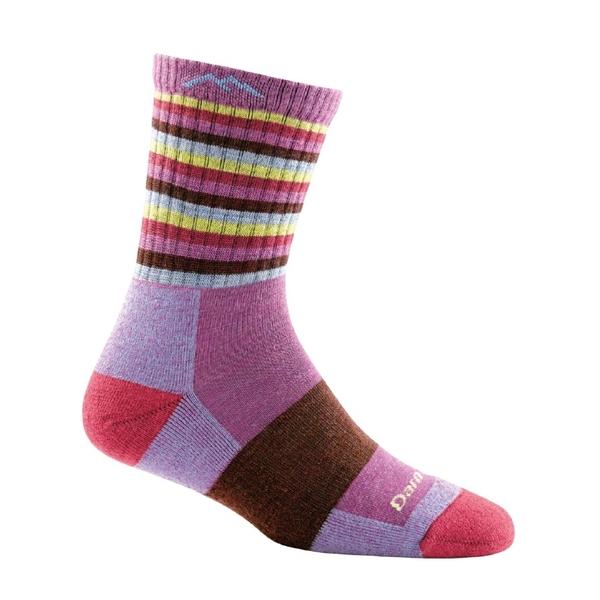 DarnTough Stripes Micro Crew Cushion 1904 女款登山健行羊毛襪 李紫條紋