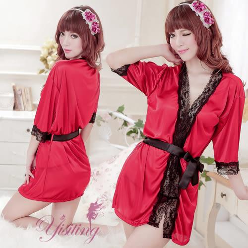 角色扮演 情趣內睡衣 情趣用品 甜蜜烈愛!性感柔緞酒紅睡袍
