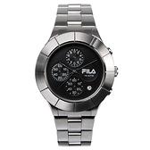【FILA 斐樂】經典風格三眼鋼帶腕錶-質感銀/38-006-002/台灣總代理公司貨享兩年保固