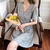 裙子洋裝實拍夏季減齡顯瘦短裙雪紡氣質女神范小個子短袖碎花連衣裙NE34A.8220胖胖唯依