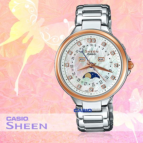 CASIO 卡西歐 手錶專賣店 SHE-3044SG-7A 女錶 不鏽鋼錶帶 月相 玫瑰金 珍珠母 月份日期顯示