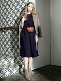 秋冬單一價[H2O]袖子拼接點點網紗泡泡袖中長版雪紡洋裝 - 藍/粉色 #8634010