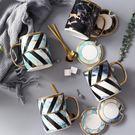 簡約創意陶瓷情侶馬克杯咖啡杯子水杯北歐風大理石紋杯子帶蓋勺子 宜品