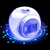 鬧鐘靜音學生創意兒童臥室床頭夜光電子多功能音樂小時鐘表 『CR水晶鞋坊』