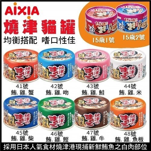 *WANG*【24罐組】日本國產愛喜雅AIXIA《燒津貓罐系列》多種口味 70g