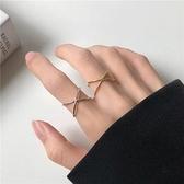 戒指女韓版氣質簡約極簡金屬交叉小眾食指戒【聚寶屋】