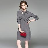 洋裝-長袖V領純色針織荷葉邊女連身裙2色73of136[巴黎精品]