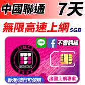 中國聯通 7日無限高速上網 FB/LINE直接用 不須翻牆 (香港/澳門也可以同時使用) 5GB