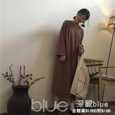 秋冬純色長袖衛衣裙寬鬆顯瘦過膝連帽洋裝學生長裙女 深藏blue