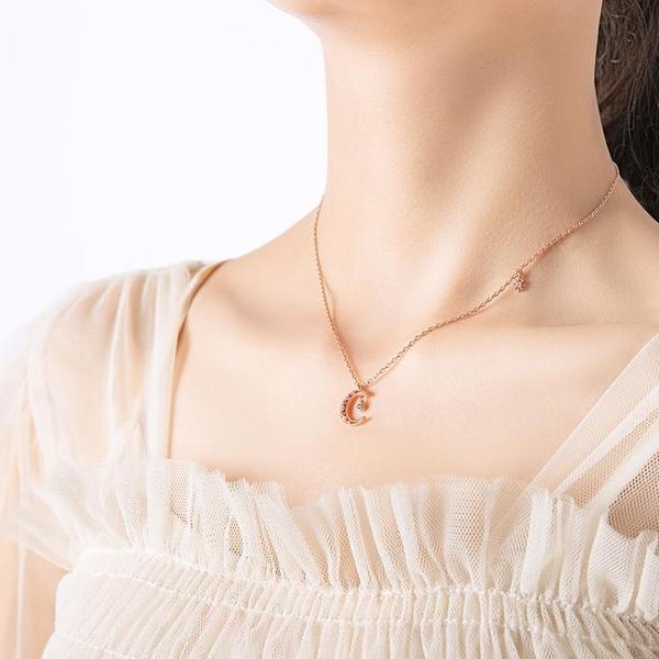 【新飾界】925純銀月亮星星項鍊氣質玫瑰金鎖骨鍊女