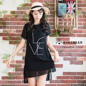 雪紡洋裝--優雅羅紋字母刺繡寬鬆開岔素色雪紡圓領短袖洋裝(黑XL-3L)-D498眼圈熊中大尺碼