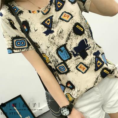 【QV0981】魔衣子-簡約圓領寬鬆短袖上衣