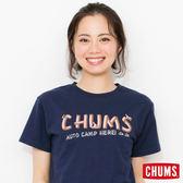 CHUMS 日本 女 露營指標 亞麻混棉 短袖T恤 深藍 CH111129N001