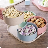創意帶蓋分格干果盤零食盤大號糖果盤瓜子盒家用客廳干果盒瓜子盤【全館免運】