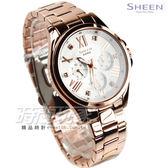 SHEEN SHE-3806PG-7A 簡單俐落三眼多功能鑽錶 日期星期顯示 防水女錶 玫瑰金色 SHE-3806PG-7AUDR CASIO卡西歐