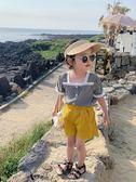 奶油媽2019新款超洋氣女童娃娃衫夏裝薄款女寶寶學院風短袖襯衫 嬌糖小屋