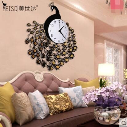 美世達現代鐘錶掛鐘客廳時尚簡約創意石英鐘靜音時鐘孔雀裝潢掛表(巨大號20英吋)