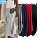【V2866】shiny藍格子-簡單百搭.高腰顯瘦寬鬆不規則長裙