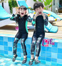 ★草魚妹★D13泳衣綠地拉長袖泳衣兒童泳衣小朋友游泳衣正品,整套售價950元