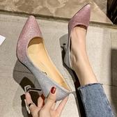高跟鞋 婚鞋女新款春秋尖頭亮片婚紗伴娘銀色單鞋水鉆新娘細跟高跟鞋【快速出貨八五折】