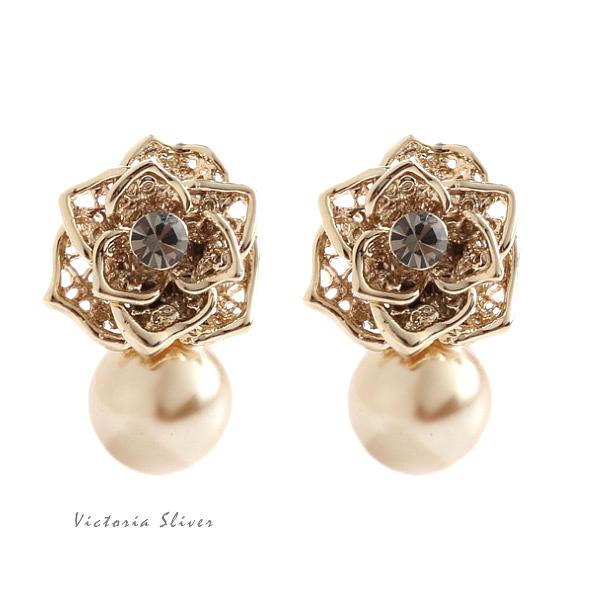 925純銀針 韓國優雅氣質 金色玫瑰 耳環-維多利亞190613