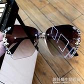 網紅新款鏡韓版潮防紫外線輻射墨鏡女水鑚個性大框眼鏡奢華gm 設計師生活百貨