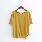 短袖T恤-純色下擺繫帶開岔清爽舒適女上衣5色73sy6【巴黎精品】