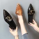 粗跟鞋 單鞋女2021年春季新款網紅百搭女士尖頭粗跟鞋時尚英倫風小皮鞋夏 伊蘿