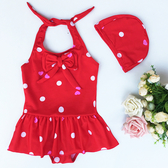 兒童泳衣 兒童游泳衣女童寶寶嬰兒小中童連體可愛波點公主裙式溫泉泳帽套裝 麗人印象 免運