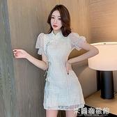 夏季旗袍 夏裝中國風改良旗袍少女時尚氣質修身顯瘦連衣裙2021新款 泡泡袖 快速出貨
