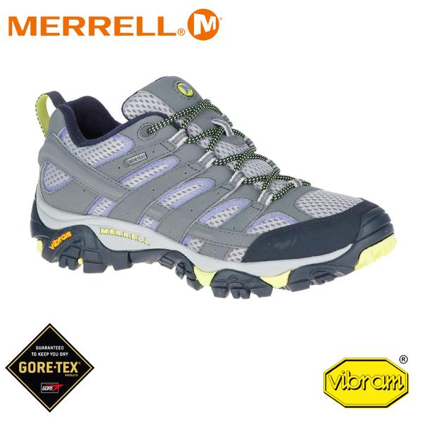 【MERRELL 美國 女 Moab 2 Gore-Tex 低筒登山鞋《淺灰/淺紫》】19888/運動鞋/健行鞋/短靴/防水